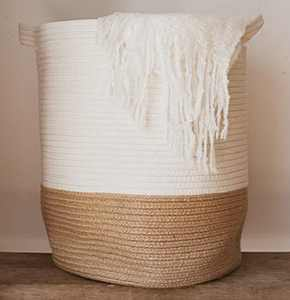 """GooBloo Large Cotton Rope Woven Basket - 18"""" x 17"""" Tall Decorative Storage Basket for Living Room, Toys or Blankets - Wicker Baskets with Handles, Blanket Basket or Cute Baby Laundry Hamper"""
