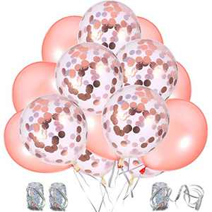 50 Pieces Rose Gold Balloons with 3 Rolls Ribbons, 12 Inch Rose Gold Confetti Balloons and Latex Balloons for Bridal Shower Wedding Party Decoration