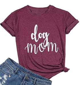 Womens Dog Mom T-Shirt Funny Moms Gift Novelty Animal Family Tee Tops Size M (Red Wine)