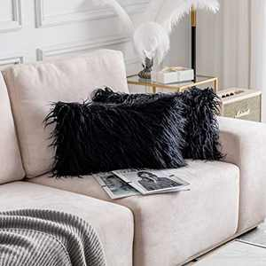 Home Brilliant Set of 2 Decorative Luxury Series Merino Rectangular Holiday Pillow Cases Mongolian Faux Fur Accent Cushion Cover 12 x 20 Inches, 30x50cm, Black