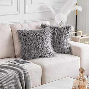 Home Brilliant Faux Fur 18x18 Throw Pillow Covers Accent Merino Style Mongolian Decorative Cushion Pillow Cases for Couch, 45cm, Set of 2, Dark Grey