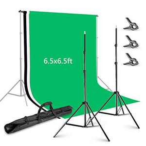 Neewer 6.5x6.5 feet/2x2 Meters Background Stand Support System with 6 X 9 feet/1.8 X 2.8 Meters Backdrop(White/Black/Green) and Backdrop Clamps for Portrait Product Video Photography
