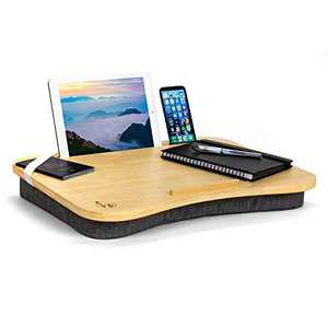 """Hultzzzy Modern Home Office Lap Desk - Durable Natural Bamboo Surface, Fits up to 17"""" Laptops & 15"""" Tablets, Pen & Phone Holder - Cushion Base"""