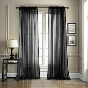 """Dreaming Casa Solid Sheer Curtains Living Room Black Rod Pocket Voile Draperies Window Treatment 52"""" W x 84"""" L 2 Panels"""