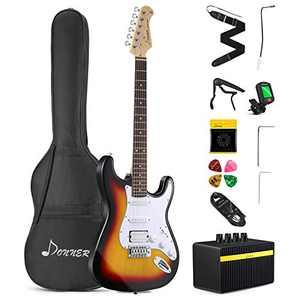 Donner 39 Inch Electric Guitar Beginner Kit Solid Body Full Size Sunburst HSS for Starter, with Amplifier, Bag, Digital Tuner, Capo, Strap, String, Cable, Picks, DST-102S