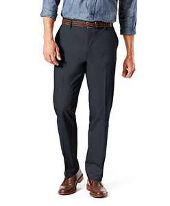 Dockers Men's Straight Fit Signature Lux Cotton Stretch Khaki Pant, Charcoal Heather - creased, 29W x 32L