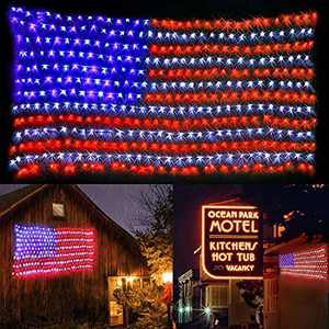 yinqing 420 LED Flag Net Lights of The United States, Waterproof American Flag Light for Independence Day,Memorial Day, Festival, Garden,Indoor and Outdoor