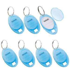 GoorDik 20 Pcs Key Tag Plastic Key Label Tags with Window Split Ring Key Identifier Tags Blue Oval Shaped