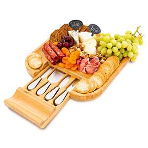 Bamboo Cheese Board and Knife Set - Includes 4 Stainless Steel Knives in Slide-Out Drawer - Charcuterie Board Serving Platter - Perfect Present for Wedding, Anniversary, Thanksgiving or Xmas