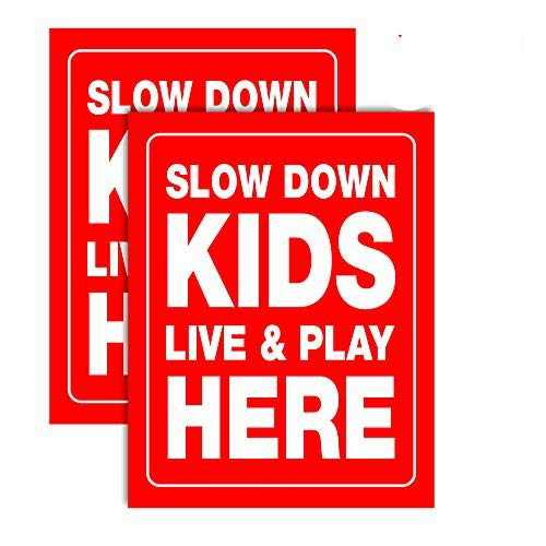 """Accelerated Intelligence Inc. Slow Down Kids Live & Play Here Yard Sign 18"""" x 24""""  Double-Sided Red on White Safety Slow Down Signs for Sidewalks, Yards and Driveways (2 Pack)"""