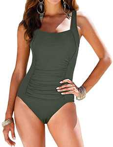 coastal rose Women's Tummy Control Swimsuit One Piece Ruched Swimwear Monokini US10 Light Army Green
