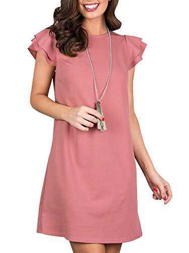 Beautife Womens Summer Mini Dresses Ruffle Cap Sleeve Casual Round Neck Loose Fit Tunic Dress Pink