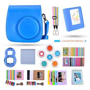 Famall Instant Mini 9 Camera Accessories Bundle Compatible for Fujifilm Mini 9/Mini 8+/Mini 8 Camera. Includes Mini 9 Case/Album/Selfie Lens/Filters/Wall Hang Frames,etc (Cobalt Blue,13 Items)