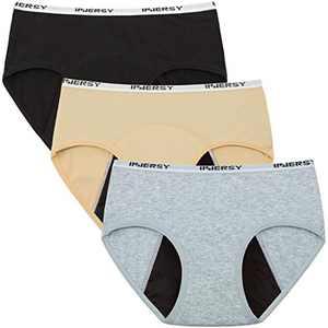 INNERSY Period Underwear for Teen Girls Cotton Leakproof Menstrual Panties 3 Pack(12-14 Years, Solid 2 )