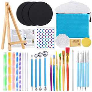 54PCS Mandala Dotting Tools Painting Kit, Dotting Tools for Painting Mandalas, Paint Stencils Tool Set Art Craft Supplies Kits with Tray Brush Zipper Waterproof Bag