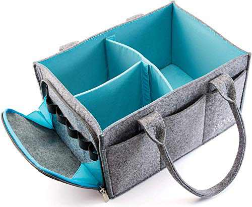 Premium Baby Diaper Caddy Organizer | Portable Nursery Storage Bin | Planner Caddy | Portable Craft Storage Organizer | Car Seat Tote with Zipper Pocket & 5mm Heavy Duty Felt (Grey/Turquoise)