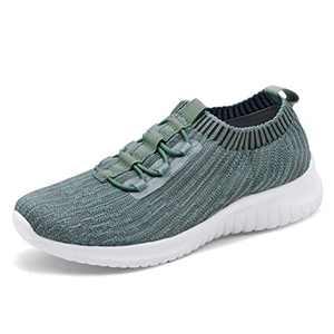 konhill Women's Comfortable Walking Shoes - Tennis Athletic Casual Slip on Sneakers 11 US Dark Green,43