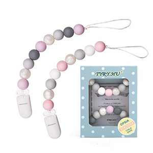 Pacifier Clips for Girls, TYRY.HU Paci Clip Baby Binky Holder Silicone Teething Beads Soothie Teether Toys 2 Pack (Pink+Purple)