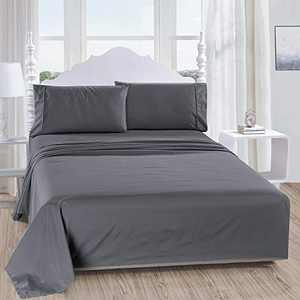 softan Full Bed Sheet Set,1 Flat Sheet,1 Deep Pocket Fitted Sheet, and 2 Pillow Cases, 4 PC Brushed Microfiber Bedding Sheet Set, Breathable & Silky Soft Feeling Sheets(Dark Grey)