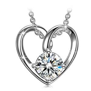 ANGEL NINA Necklace for Women Valentines Day Love Heart Pendant Necklace with Cubic Zirconia Sterling Silver Jewelry for Girlfriend Valentines Gifts for Wife Birthday Gifts for Mom