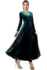 Urban CoCo Women Long Sleeve V-Neck Velvet Stretchy Long Dress (Medium, Lyons Blue)