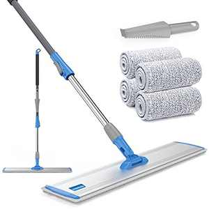"""Microfiber Mop 18""""Large Flat Mops for Floor Cleaning Floor Mop 4 Premium Pads Hardwood for Cleaning Wet Mop Wet or Dry Floor Cleaning"""