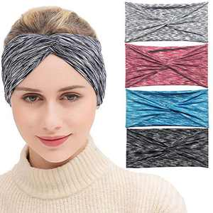 Bandana for Womens - Workout Sweat Band, Wicking Dry Fit, Noslip Accessories, gray head wraps black Headbands