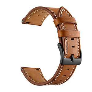 GOSETH Band Compatible with Samsung Galaxy Watch 3 41mm Bands/Active2 Bands, Genuine Leather Replacement Buckle Strap for Galaxy Watch Active 3 41mm (Brown)