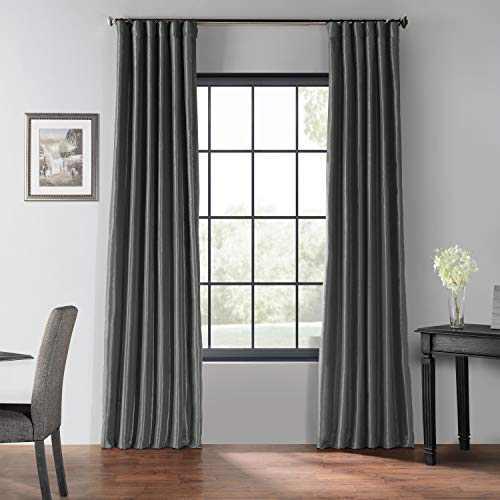 HPD Half Price Drapes PDCH-KBS41BO-108 Blackout Vintage Textured Faux Dupioni Silk Curtain (1 Panel), 50 X 108, Arrowhead Grey
