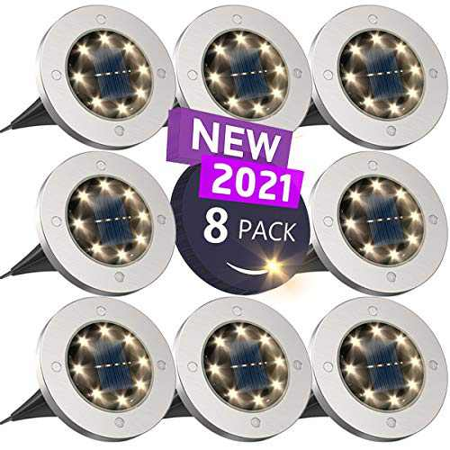 Solar Lights Outdoor, Disk Lights Solar Powered - 8 Led, Outdoor in-ground Solar Lights for Landscape, Walkway, Lawn, Steps Decks, Pathway Yard Stairs Fences, LED lamp, Waterproof(8 Warm White)