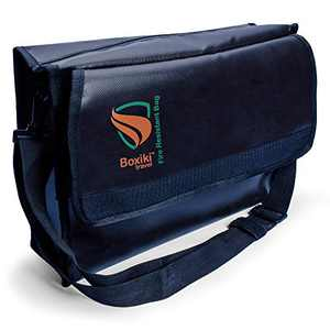 Boxiki Travel Fireproof Document Bag - Fire and Water Resistant Safe Storage Important Documents and Money Bag for Luggage, Passport, Cash, Jewelry (Large)