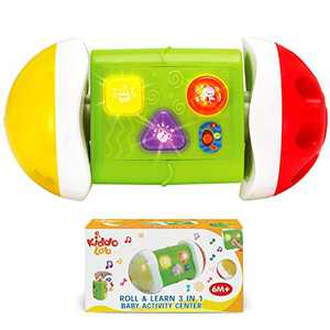 KiddoLab 3 in 1 Roll & Learn Activity Center for Baby and Rattle Ball Toy. Infant Learning Activity Center Toy with Colorful Lights and Fun Sounds.Interactive Light Up Toys for 6 Month Old Baby.