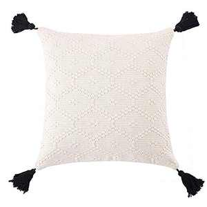 OJIA Boho Decorative Throw Pillow Cover, Woven Tassels Cushion Case Minimalist Neutral Collection Accent Square Cushion Cover for Farmhouse Bed Sofa Living Room Bedroom (16 x 16 inch, Cream White)