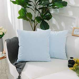 Home Brilliant Cushion Cover for Chair Decor Plush Solid Velvet Thanksgiving Decorative Pillowcase, Set of 2, 20x20 Inches(50cm), Light Blue