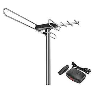 1byone Rotating TV Antenna with 360 Degree Directional Receiving Signal, 85-150 Miles Range Enhanced Outdoor TV Antenna with Remote Control and 49.2ft Coaxial Cable