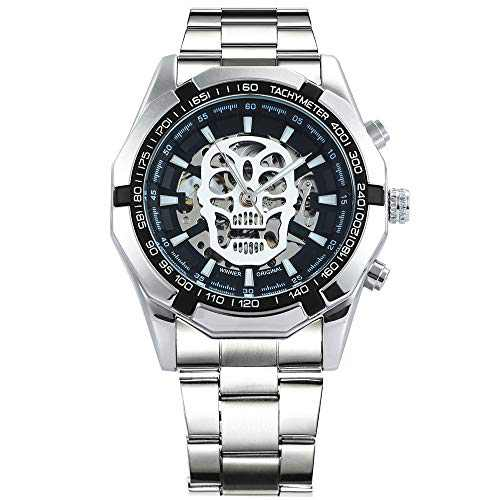 Caluxe Men's Skull Watch Skeleton Automatic Mechanical Wrist Watch Self Winding with Stainless Steel Band