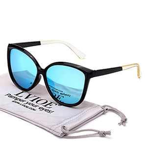 LVIOE Cat Eye Sunglasses for Women, Polarized Mirrored Lens with UV Protection, Trendy Cateye Lightweight Frame Sun Glasses (Black, Blue Mirrored Lenses)