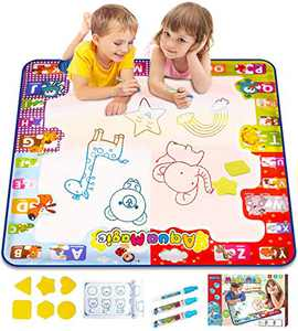 KIZZYEA Water Doodle Mat, Kids Large Aqua Coloring Mat, Mess Free Drawing Mat with Neon Colors, Educational Toy for 2 3 4 5 Years Old Kids,Toddlers,Boys,Girls