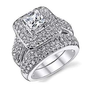 2 Piece Wedding Ring for Women 1 Carat Princess Cut Cubic Zirconia Engagement Promise Bridal silver Band Fashion Cute White Gold Plated Ring Set Gift Jewelry