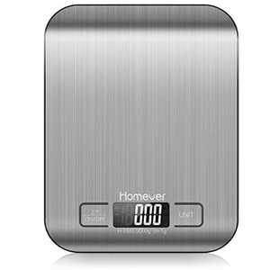Homever Digital Kitchen Scale Small Food Scale, 0.05oz/1g Professional Cooking Scales with LCD Display, Premium Stainless Steel Kitchen Scale for Baking, Tare Function,Silver(5 kg Maximum Weight)