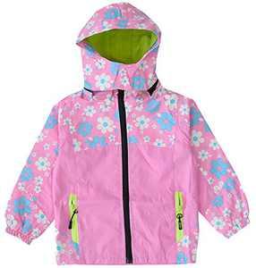 KISBINI Big Girls Windproof Zipper Jacket Hooded Windbreaker Raincoat Pink 10T