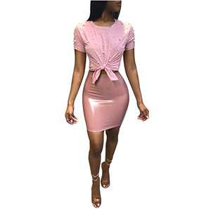 Women 2 Piece Outfits Clubwear Beading Pearls Top with Short Bodycon PU Skirt Set 2XL