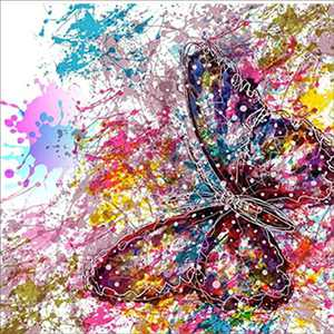 DIY 5D Diamond Painting, by Number Kits Crafts & Sewing Cross Stitch,Wall Stickers for Living Room Decoration,Butterfly (30X30CM)