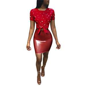 Women 2 Piece Outfits Clubwear Beading Pearls Top with Short Bodycon PU Skirt Set M