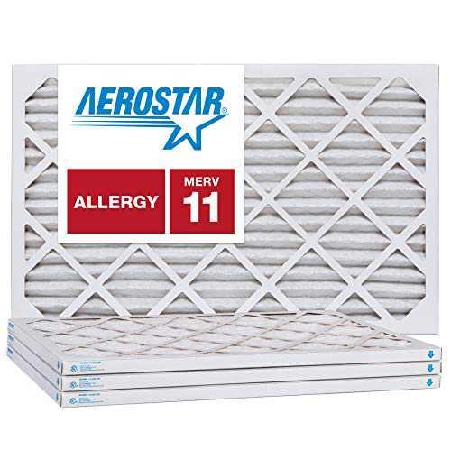 "Aerostar 16x21x1 MERV 11 Pleated Air Filter, AC Furnace Air Filter, 4 Pack (Actual Size: 15 7/8"" x 20 7/8"" x 3/4"")"