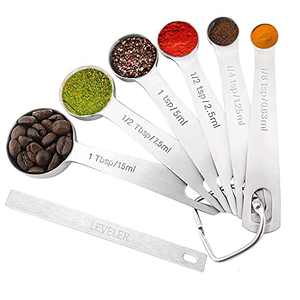 K BASIX Heavy Duty Round Measuring Spoons Stainless Steel, Measure Dry or Liquid, Perfectly Fits in Spice Jars, Slim Narrow Shape Spoon for Cooking and Baking, Set of 6 with Bonus Leveler