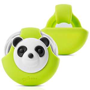Bone Cord Pocket, Earbuds Holder Earphones Cord Wrap Case, Soft Touch Silicone Headsets Winder Tangle-Free Cable Management Portable Organizer Cute Cartoon Design- Panda / Green