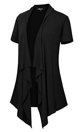 Women's Short Sleeve Open Front Drape Loose Cardigan (S, Black)