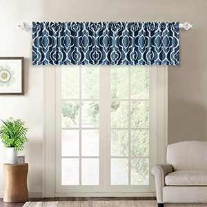"""NANAN Moroccan Blackout Curtains,Lattice Print Thermal Insulated Blackout Window Curtains,Room Darkening Geometric Blackout Grommet Top Curtains for Bedroom (Valance