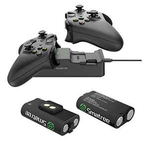 Smatree Controller Charger for Xbox One, Dual Charging Station Compatible with Xbox One/One X/One S/One Elite, High Speed Docking with Rechargeable Battery 2 Pack